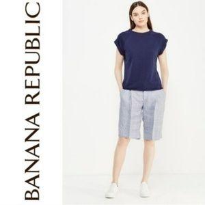 BANANA REPUBLIC Plaid Bermuda Shorts Blue 6 NWOT